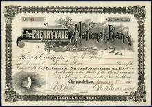 1891 Cherryville Kansas The Cherryvale National Bank Stock Certificate