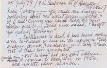 1979 Letter from Louise Brooks to James Mulcahy