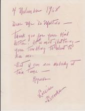1968 Letter from Louise Brooks to DeMartino