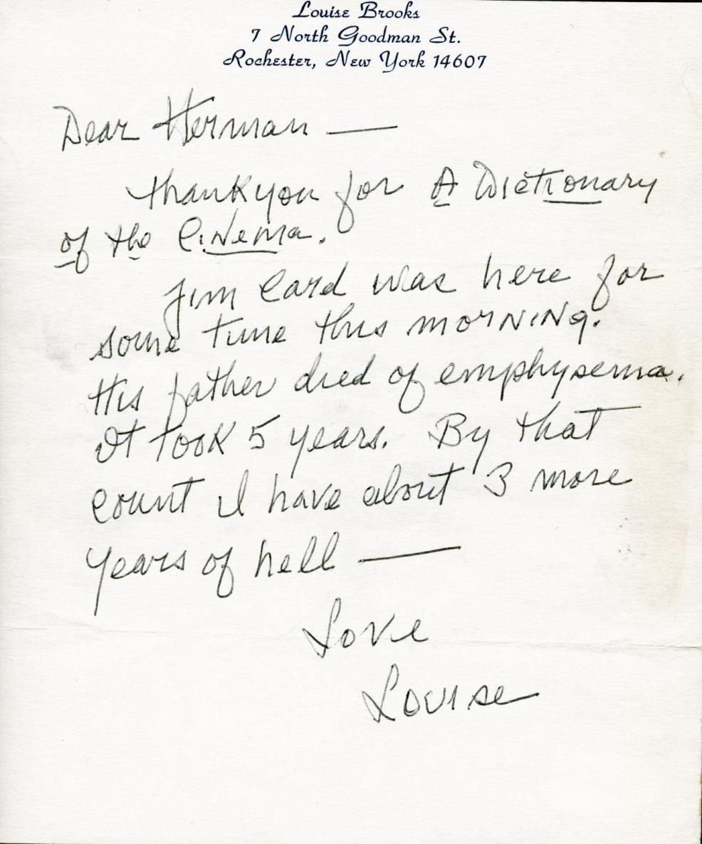 Letter from Louise Brooks to Herman