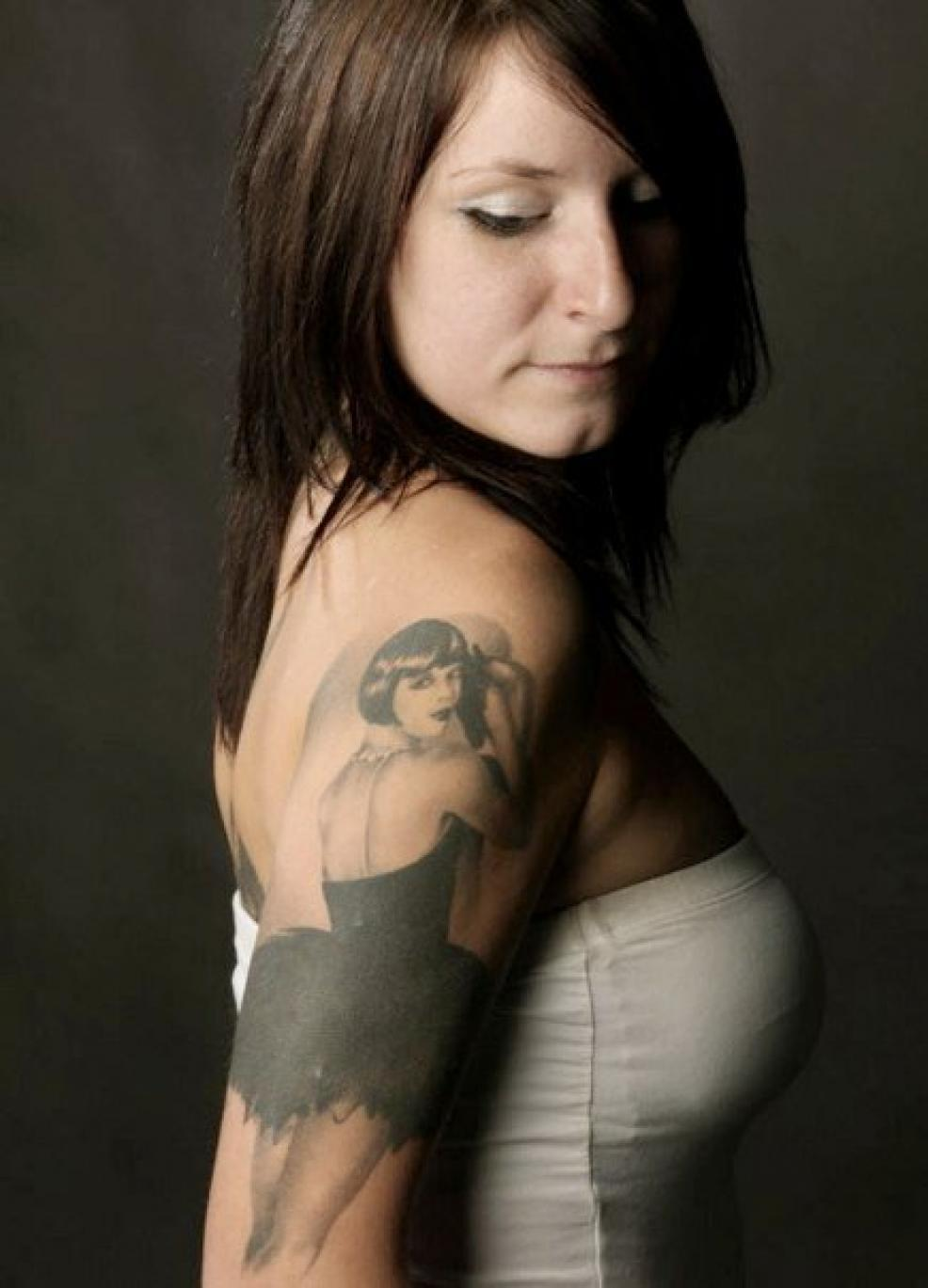 Atom Bomb Tattoo | Artist: Dave, Model: Joy Adamson
