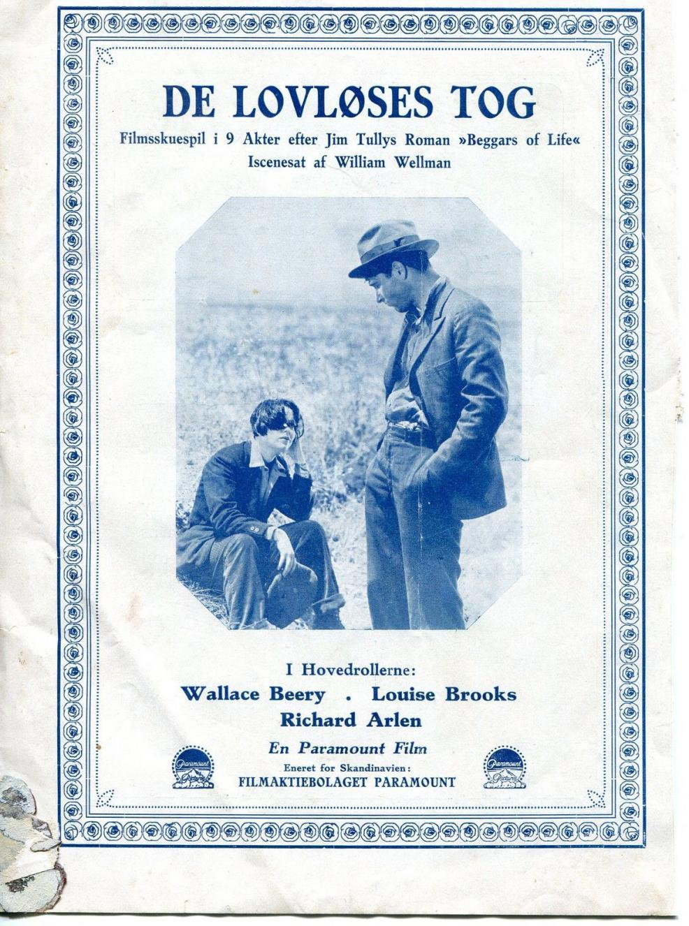 1928 Beggars of Life Danish Movie Program