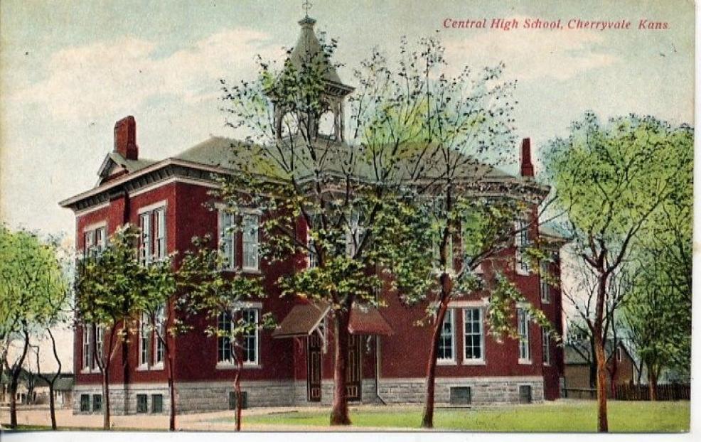 Cherryvale Kansas Central High School Postcard