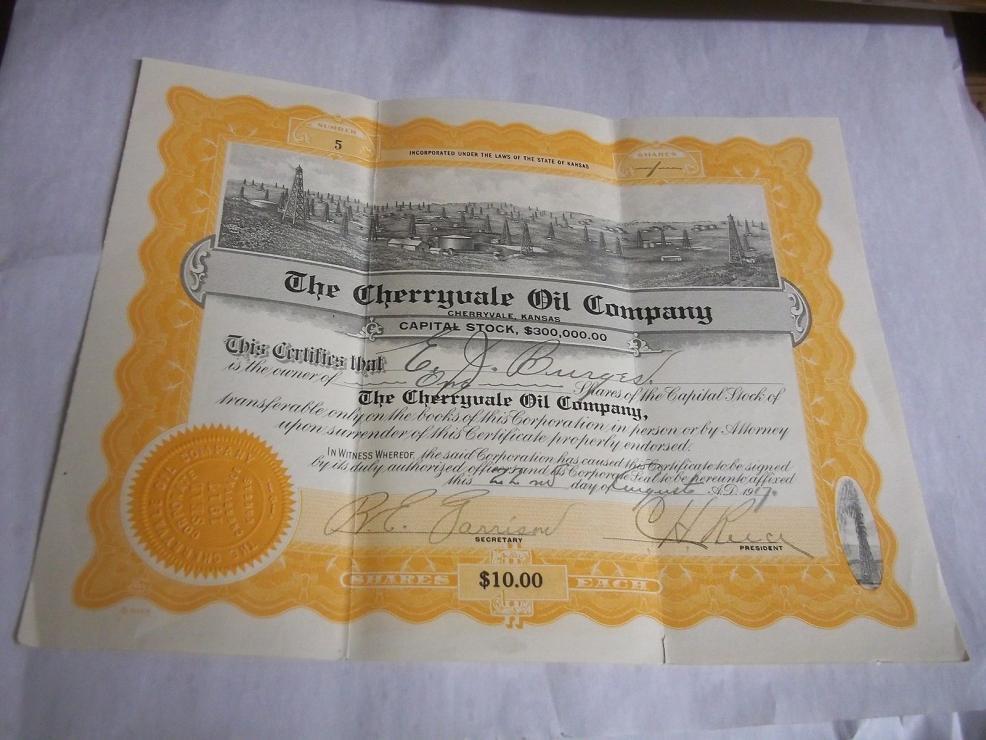 1917 Cherryvale Kansas Oil Company Stock Certificate