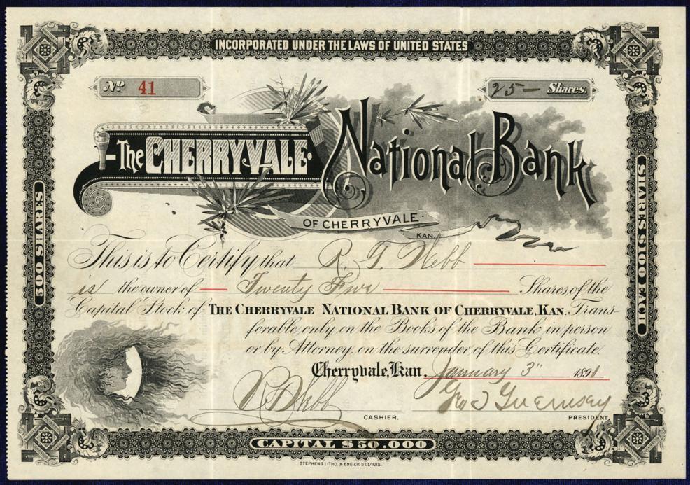 1891 Cherryville Kansas The Cherryvale National Bank Stock Certificate
