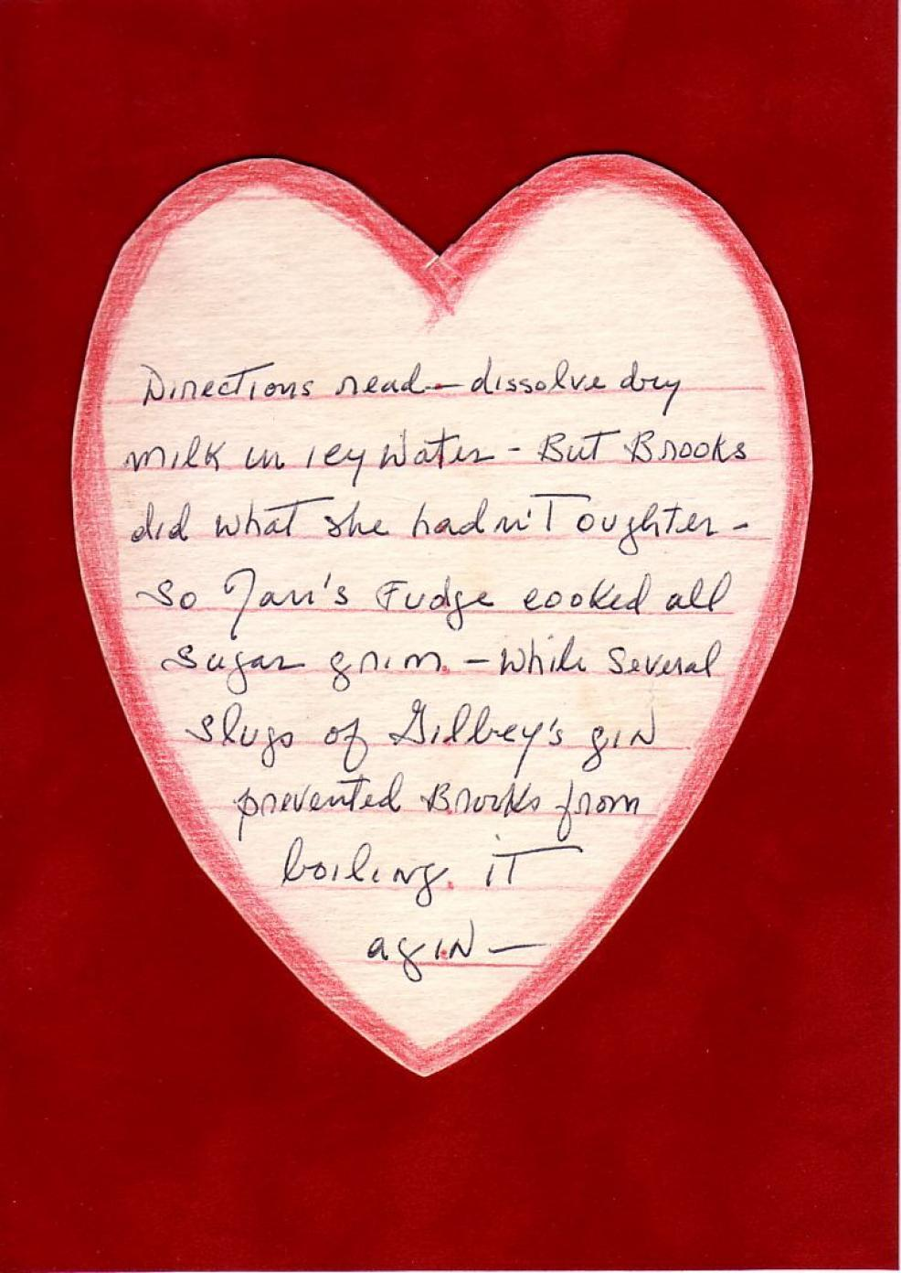 1962 Valentine from Louise Brooks to Jan Wahl