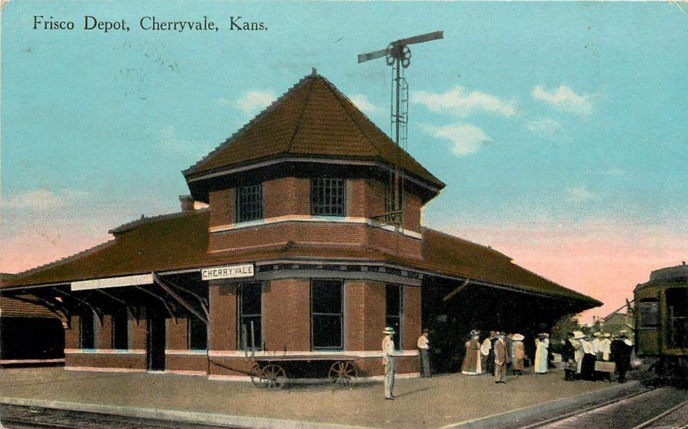 1911 Cherryvale, Kansas Frisco Depot Postcard