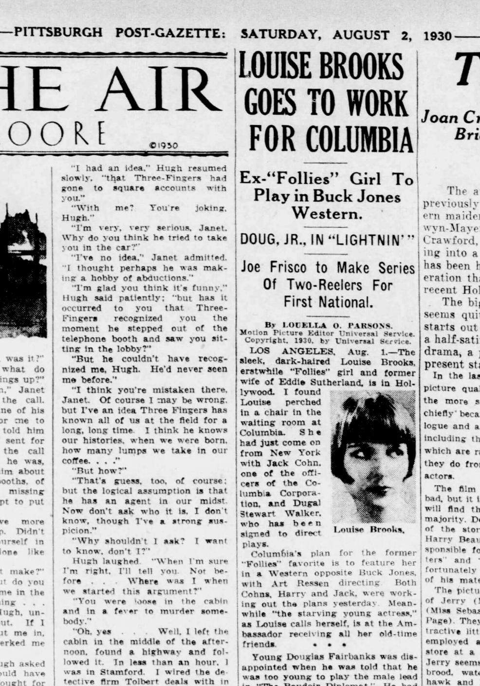 1930 Louise Brooks Goes To Work For Columbia - Louella Parsons Saturday, August 2