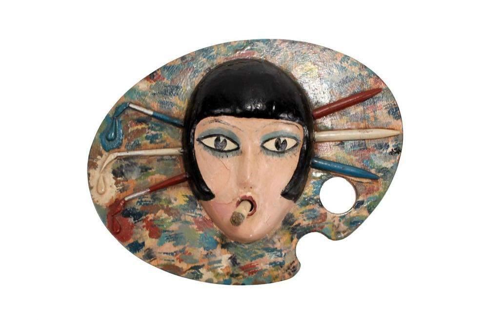 1940 Folk Art Louise Brooks Mounted Flapper Head on Palette