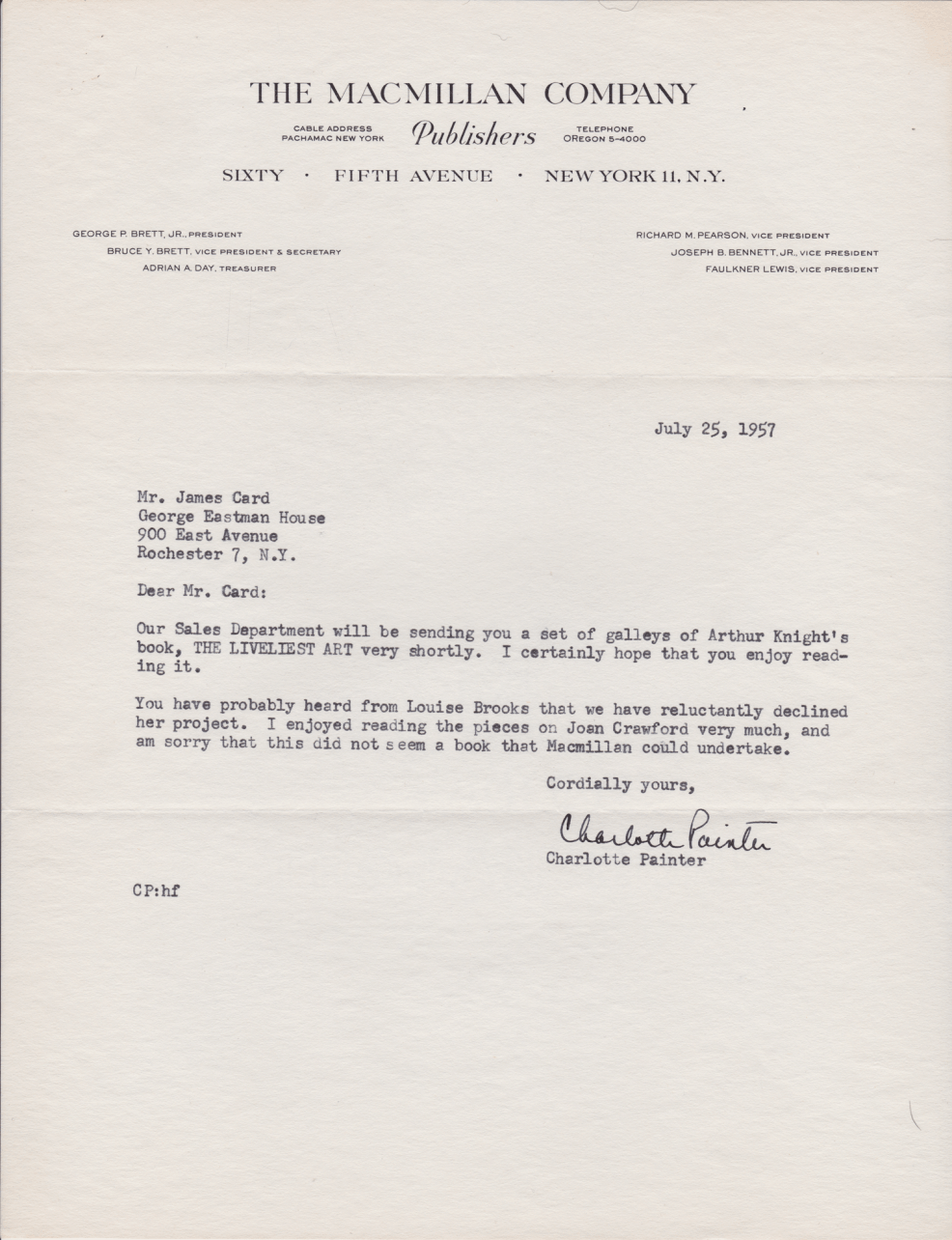 1957 Letter from The Macmillan Company to James Card, about Louise Brooks