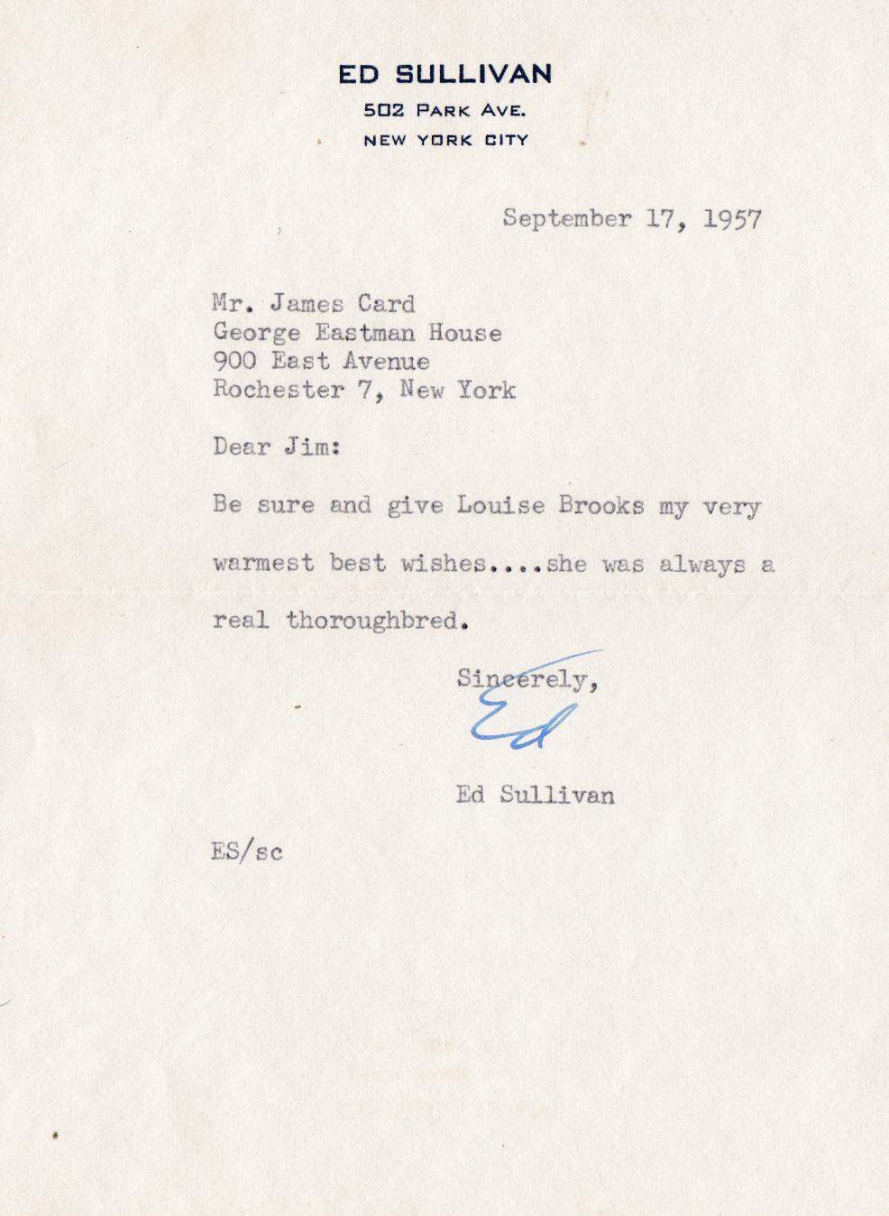1957 Letter from Ed Sullivan to James Card, about Louise Brooks